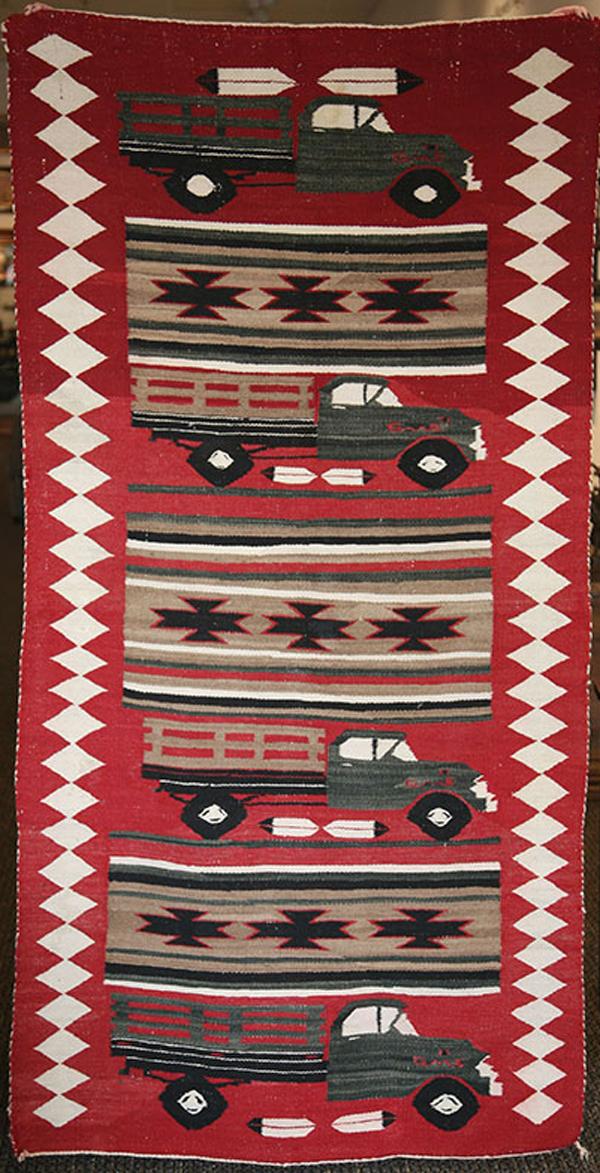 Navajo Pictorial Runner Rug with Trucks