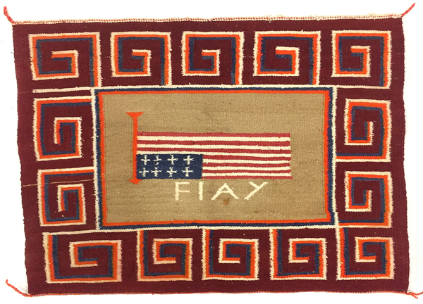 Navajo pictorial saddle blanket with flag