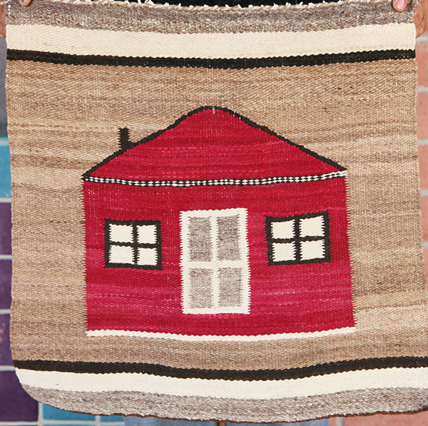 Navajo Pictorial Gallup Throw with House