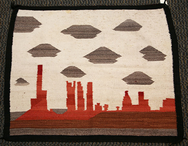 Navajo pictorial weaving of Monument Valley
