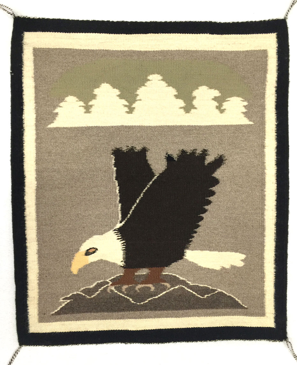 Navajo pictorial weaving with eagle