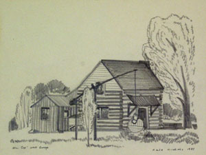 "Dale Nichols, Mr. Cox's Well Sweep, Graphite on Paper, c. 1935, 7"" x 9"""