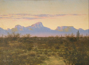 "Audley Dean Nicols, Tucson Mountains, Oil on Canvas, 1919, 11"" x 15"""