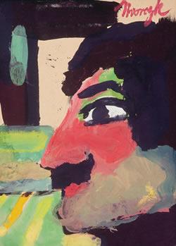 """Maynard Dixon (1875-1946) Nvorczk, The Face, Gouache, 8.5"""" x 6.5"""""""