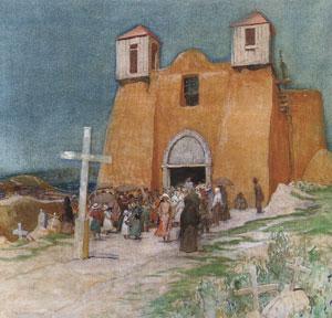 """Oscar E. Berninghaus (1874-1952), Church at Ranchos de Taos, 1920, oil on canvas, 28"""" x 28"""""""
