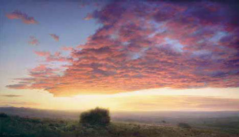 """P. A. Nisbet, Red Dawn, Oil on Canvas, 24"""" x 42"""", courtesy the artist"""