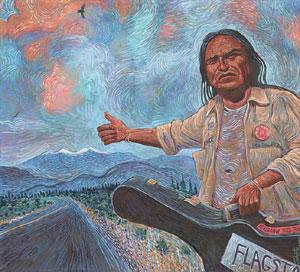 Shonto Begay, Rhythms From the Edge of the Rez, Acrylic on Canvas, 40