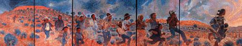 Shonto Begay, Kin aaldà (The Blessing Run) Acrylic on Canvas, 16