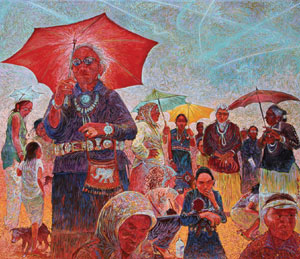 "Shonto Begay, A Day at the Races, Acrylic on Canvas, 58"" x 66"""