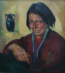 """Hans Paap, Taos Indian, Oil on Canvas, 21"""" x 19"""""""