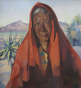 """Hans Paap, Indian of the Desert, Oil on Canvas, circa 1954, 22"""" x 20"""""""