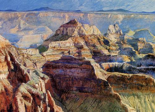 """Merrill Mahaffey, Canyon Temples, acrylic, 46""""x68"""""""