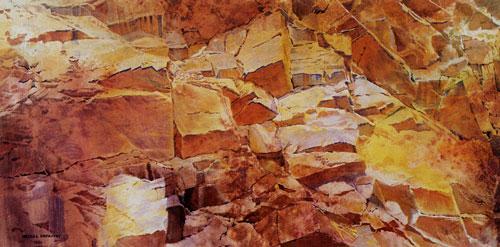 "Merrill Mahaffey, Redstone (1999), acrylic, 28""x56"""