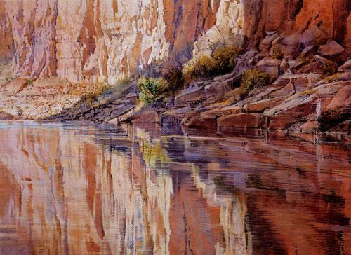 """Merrill Mahaffey, Canyon Reflection (1999), acrylic, 20""""x84"""""""