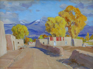 "Sheldon Parsons, Ristras and Adobes, Oil on Board, 9"" x 12"""