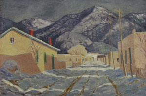 "Sheldon Parsons, Winter Afternoon, Canyon Road, Oil on Board, c. 1943, 24"" x 35.75"""