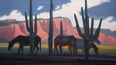 """Ed Mell, Saguaro Horses, Oil on Linen, 34"""" x 60"""""""