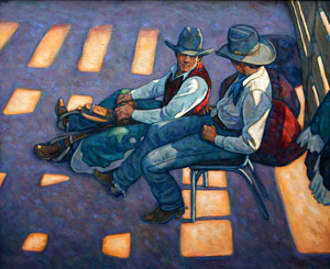 Howard Post, Bronc Riders Under the Grand Stand, Oil on Canvas, 36