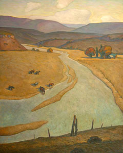 Howard Post, Bend in the River, Oil on Canvas, 50