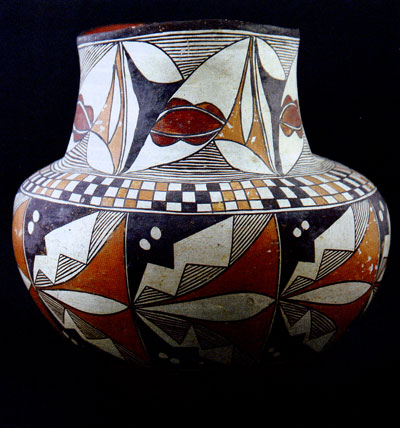 Four Color Acoma with checkerboard pattern, circa 1890