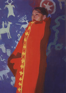 """Ray Roberts, Red Blanket, Oil on Canvas, 16"""" x 12"""""""