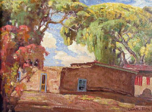 """Carl Redin, Adobe Casa with Chilies, Oil on Canvas mounted on Panel, 12"""" x 16"""""""