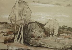 """Doel Reed, Along the Rio Hondo, Conte Crayon, circa 1976, 13.75"""" x 19.5"""""""