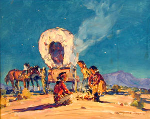 "Marjorie Reed, Navajo Family Camp, Oil on Canvas, 16"" x 20"""