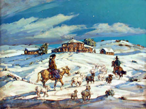 "Marjorie Reed, Late Arrival at Redlake Trading Post, Oil on Canvas, 30"" x 40"""