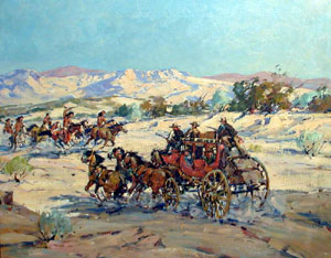 "Marjorie Reed, Indian Raid, Oil on Canvas, 25"" x 30"""