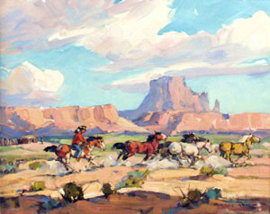 "Marjorie Reed, In the Valley of the Monuments, Oil on Board, 16"" x 20"""