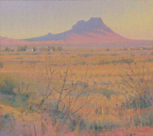 Glenn Renell, Township Butte, Oil on Panel, 9.75