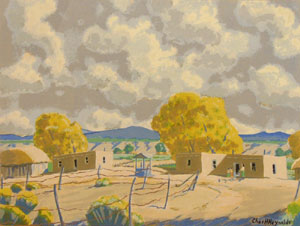 "Charles Reynolds, New Mexico Houses (Espanola) Watercolor, 15"" x 19.5"""