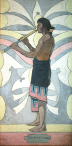 "Warren Rollins, Song of the Flute, Oil on Canvas, mural, 84"" x 42"""