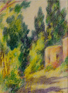 "Warren E. Rollins, Adobe with Trees, Crayon on Paper, 12"" x 9"""