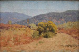 "Warren E. Rollins, Chamisa, Oil on Canvas, Circa 1915, 10"" x 15"""