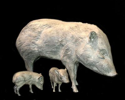 "Mark Rossi, Female Adult Javelina Standing, Bronze Edition of 10, 21"" x 32"" x 10""  Newborn Javelina Pose #6, Bronze Edition of 35, 7"" x 10"" x 3""  Newborn Javelina Pose #9, Bronze Edition of 35, 6"" x 9 "" x 4"""