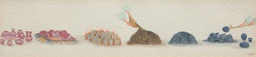 "Jose D. Roybal, Firing Sequence, Pen and Ink, c. 1976, 4.25"" x 18"""