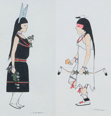 """Jose D. Roybal, Pair of drawings of Corner Dancer and Head Hunter, Pen and Ink, c. 1960, 6.75"""" x 3.75"""" each"""