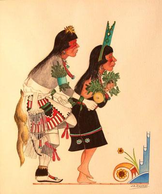 """Jose D. Roybal, Pueblo Dancers, Watercolor, 13"""" x 11"""""""