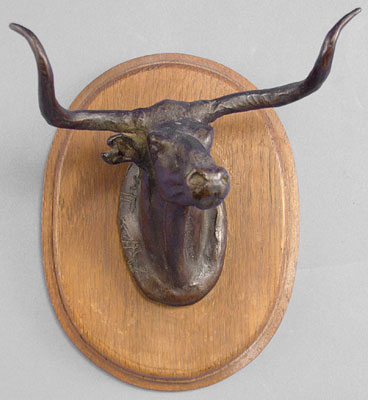 "Charles Marion Russell, Longhorn Steer 1950 Recast Bronze, 6"" x 5"" x 7"""