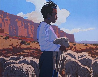 Billy Schenck, The Sheep, Oil on Canvas, 28 by 36 inches