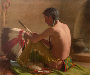 """Joseph Henry Sharp, The War Bonnet Maker, Circa 1930, Oil on Canvas, 25"""" x 30"""""""