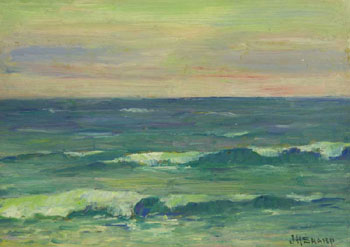 "J. H. Sharp, Seascape, circa 1930, Oil on Board, 9"" x 6.5"""