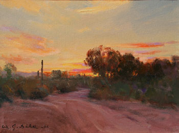 "W. Jason Situ, Sunset Sky in North Scottsdale, Oil on Canvas, 9"" x 12"""