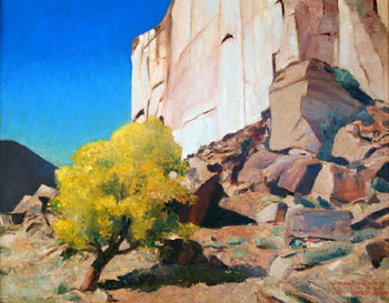 Gary Ernest Smith, Stone Wall with Cottonwoods, Oil on Canvas, 24