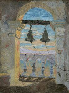 "Lilliam Wilhelm Smith, Bells of San Xavier, Oil on Canvas on Board, circa 1920, 16"" x 12"""