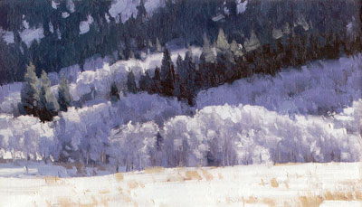 Stephen C. Datz, Frosted, oil, 6 x 15 (cropped image)