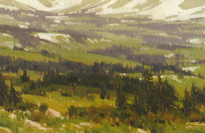 Stephen C. Datz, Spring at Timberline, oil, 8 x 12