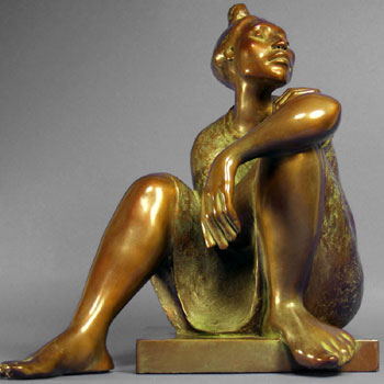 "Shirley Thomson-Smith, Contemplation, Bronze Edition of 25, 20"" x 20"" x 21"""
